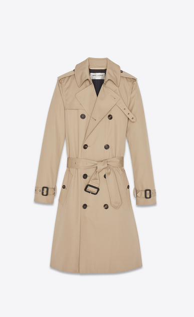 SAINT LAURENT Cappotti Donna Trench doppiopetto con cintura in gabardine color sabbia b_V4