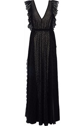 PHILOSOPHY di LORENZO SERAFINI Open-back chiffon-paneled ruffled broderie anglaise gown