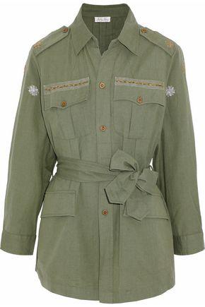 LOVESHACKFANCY Embellished belted cotton-canvas jacket