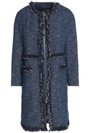 THEORY Frayed cotton-blend tweed coat