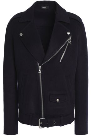 THEORY Wool and cashmere-blend biker jacket
