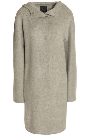 THEORY Hooded brushed wool and cashmere-blend coat