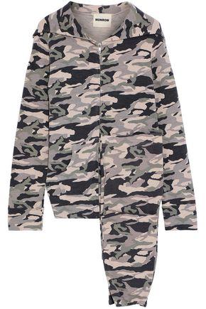 MONROW Printed cotton-blend jersey sweatshirt and pants set
