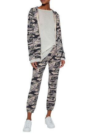 MONROW Printed cotton-blend jersey sweatshirt and pants set