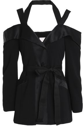 CINQ À SEPT Cold-shoulder cutout satin-trimmed crepe blazer