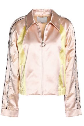 3.1 PHILLIP LIM Embellished embroidered color-block cotton-blend satin jacket