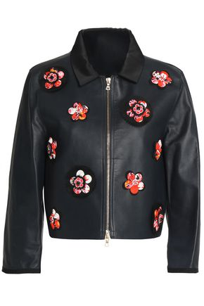 VICTORIA, VICTORIA BECKHAM Floral-appliquéd leather biker jacket