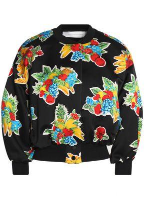 VICTORIA, VICTORIA BECKHAM Printed satin bomber jacket