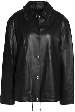 ALEXANDER WANG Lace-up detailed nappa leather jacket