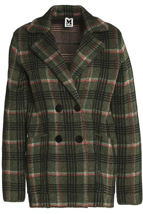M MISSONI Double-breasted metallic checked knitted coat