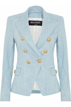 BALMAIN Double-breasted denim blazer