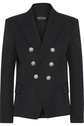 BALMAIN Double-breasted wool-piqué blazer