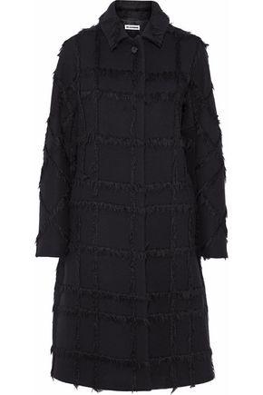 JIL SANDER Checked-effect brushed wool-blend coat