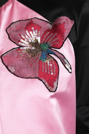 VALENTINO Embellished silk-satin bomber jacket