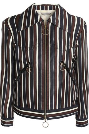 NINA RICCI Striped wool and silk-blend twill jacket