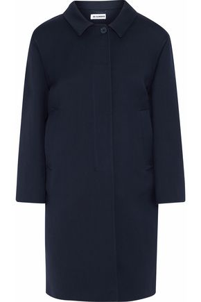 JIL SANDER Wool and silk-blend twill coat