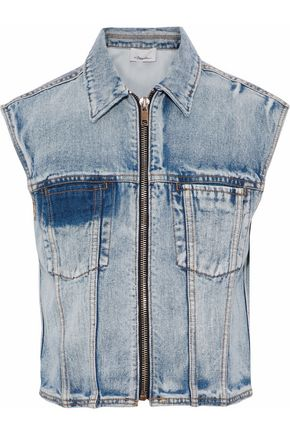 3.1 PHILLIP LIM Distressed faded denim vest