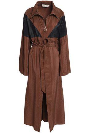 NINA RICCI Paneled crinkled-taffeta trench coat