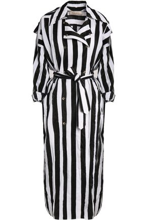 NINA RICCI Striped crinkled taffeta trench coat