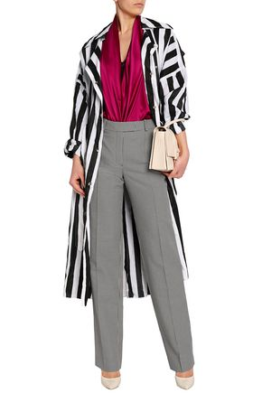 NINA RICCI Striped crinkled taffeta trench coat