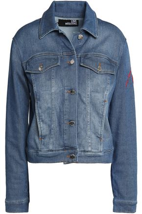 LOVE MOSCHINO Embroidered cotton-blend denim jacket