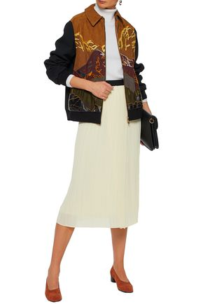 STELLA McCARTNEY Paneled embroidered faux suede and wool-blend jacket