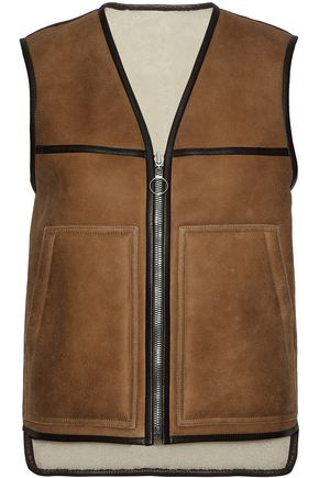 JOSEPH Reversible leather-trimmed shearling vest