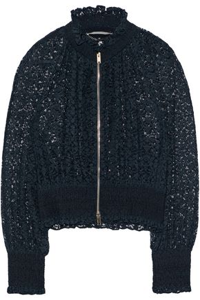 STELLA McCARTNEY Shirred cotton-blend lace jacket