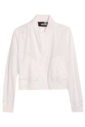 LOVE MOSCHINO Broderie anglaise cotton bomber jacket