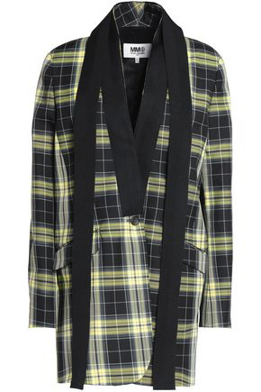 MM6 MAISON MARGIELA Grosgrain-trimmed tartan plaid twill blazer