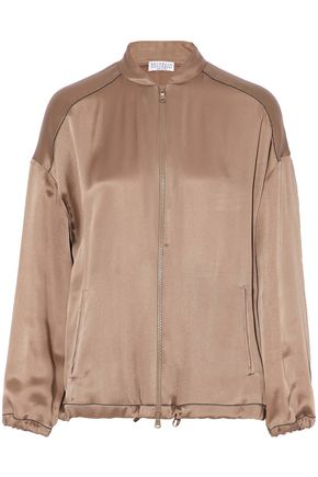 BRUNELLO CUCINELLI Bead-embellished satin bomber jacket