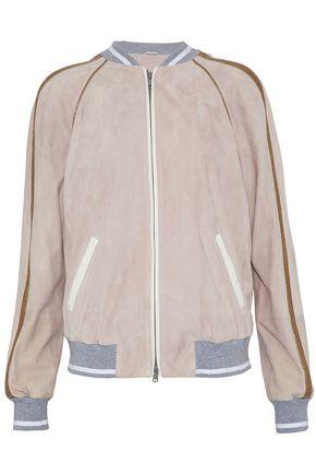 BRUNELLO CUCINELLI Metallic-trimmed suede bomber jacket