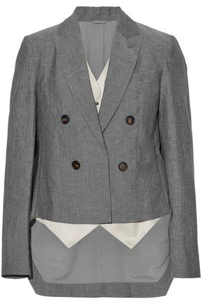 BRUNELLO CUCINELLI Asymmetric layered wool and linen-blend blazer