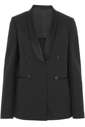 BRUNELLO CUCINELLI Satin-trimmed button-detailed cotton-blend blazer
