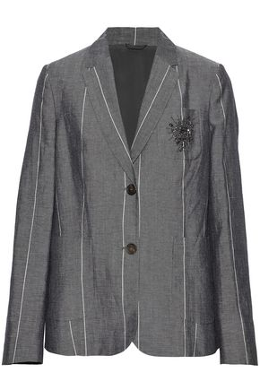 BRUNELLO CUCINELLI Embellished striped wool and linen-blend blazer