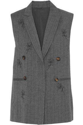 BRUNELLO CUCINELLI Bead-embellished pinstriped wool and linen-blend vest