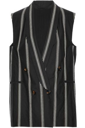 BRUNELLO CUCINELLI Double-breasted sequin-embellished cotton-blend vest