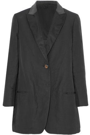 BRUNELLO CUCINELLI Satin-trimmed bead-embellished twill blazer