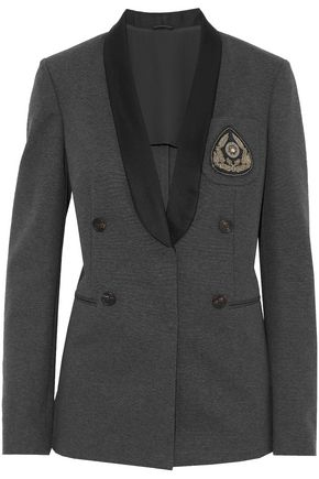 BRUNELLO CUCINELLI Satin-trimmed embellished cotton-blend jersey blazer
