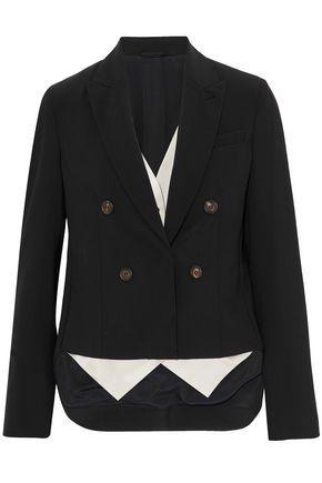 BRUNELLO CUCINELLI Asymmetric layered stretch-wool and satin-twill blazer