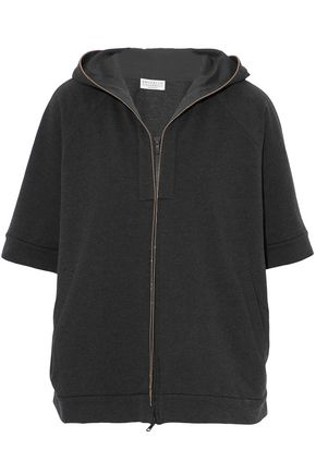 BRUNELLO CUCINELLI Bead-embellished stretch-cotton jersey hooded jacket