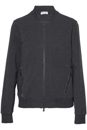 BRUNELLO CUCINELLI Bead-embellished stretch-cotton jersey bomber jacket