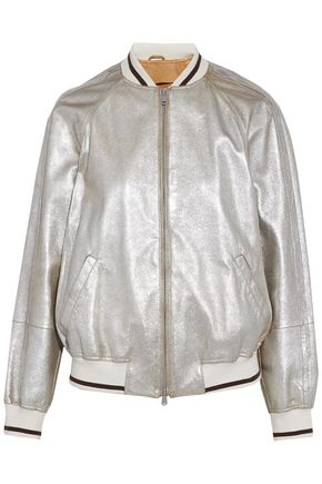 BRUNELLO CUCINELLI Metallic leather bomber jacket