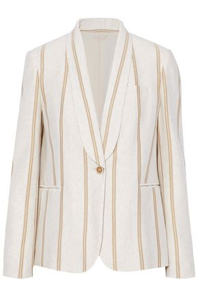 BRUNELLO CUCINELLI Metallic striped cotton-jersey blazer