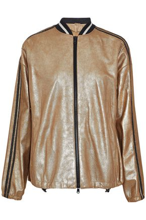 BRUNELLO CUCINELLI Metallic coated suede bomber jacket