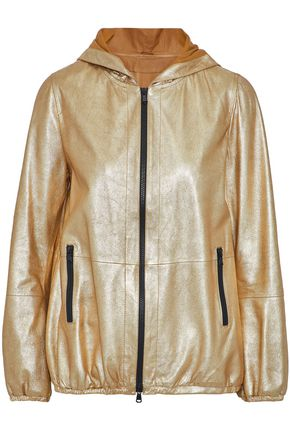 BRUNELLO CUCINELLI Metallic coated leather hooded jacket