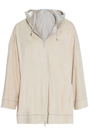 BRUNELLO CUCINELLI Beaded nubuck hooded jacket