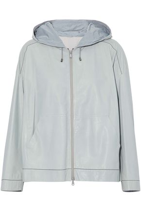 BRUNELLO CUCINELLI Bead-embellished coated leather hooded jacket