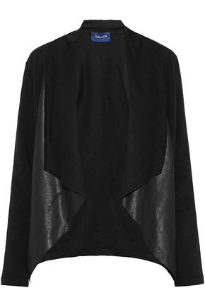 SPLENDID Faux leather-paneled draped cotton-blend jacket