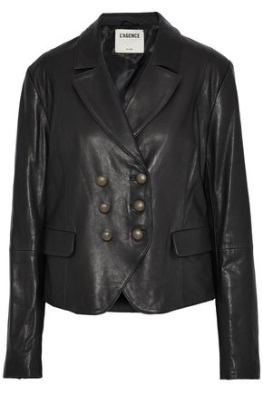 L'AGENCE Double-breasted leather blazer